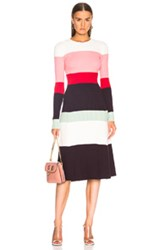Joostricot Bodycon Color Block Dress In Pink Purple Stripes White Pink Purple Stripes White
