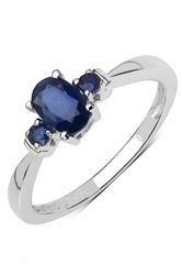 Olivia Leone Sterling Silver Oval And Round Blue Sapphire Ring