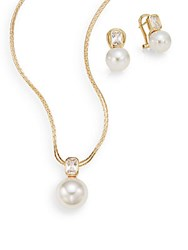 Majorica Ophol 10Mm 12Mm White Round Pearl And 18K Yellow Gold Vermeil Necklace And Earrings Set Gold Pearl
