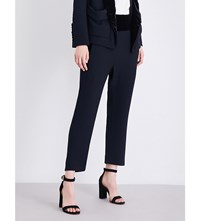 The Kooples Velvet Trimmed Tailored Fit Cropped Crepe Trousers Nav03