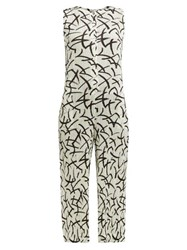 Issey Miyake Pleats Please Abstract Dash Print Pleated Jumpsuit White Black