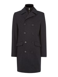 Linea Lincoln Long Funnel Utility Wool Coat Charcoal