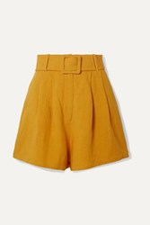 Adriana Degreas Belted Pleated Linen Shorts Mustard