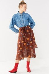 Urban Outfitters Uo Stevie Tiered Ruffle Midi Skirt Maroon