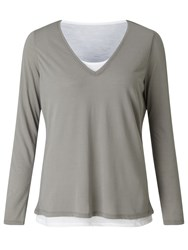 John Lewis Collection Weekend By Double Layer T Shirt Grey White