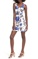 Soprano Women's Floral Surplice Body Con Dress 024 Cobalt