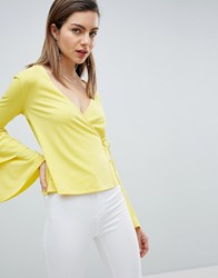 Ivyrevel Wrap Front Jersey Top With Bell Sleeve Yellow
