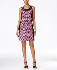 Ny Collection Petite Printed Embellished Shift Dress Fuchsia Drizzle
