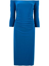 Norma Kamali Off Shoulders Shirred Waist Dress Blue