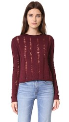 Alexander Wang Dropped Needle Merino Cropped Pullover Bordeaux