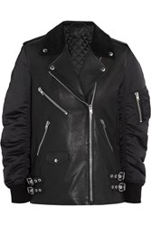 Alexander Wang Corduroy Trimmed Leather And Shell Biker Jacket Black