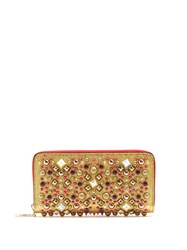 Christian Louboutin Panettone Embellished Zip Around Leather Wallet Gold Multi