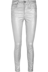 Etoile Isabel Marant Ellos Metallic Coated High Rise Skinny Jeans Silver
