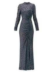 Jonathan Simkhai Sequinned High Neck Gown Navy