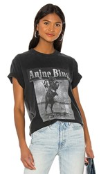 Anine Bing Lili Wild And Free Tee In Black. Washed Black