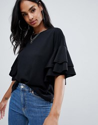 Ax Paris Frill Sleeve Top Black