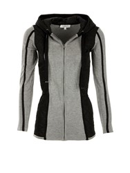 Morgan Quilted Paneled And Knit Cardigan Grey