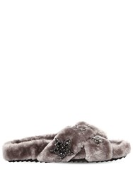 Colors Of California 20Mm Stars Faux Fur Slide Sandals Grey