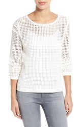 Women's Fever Open Knit Sweater Bright White