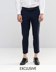 Only And Sons Skinny Cropped Trousers With Stretch Navy