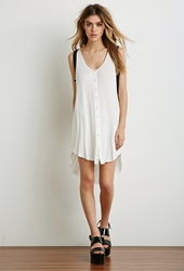 Forever 21 Hooded Button Down Dress White