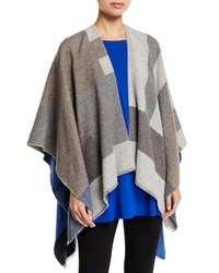 Eileen Fisher Colorblock Jacquard Double Face Wrap Royal