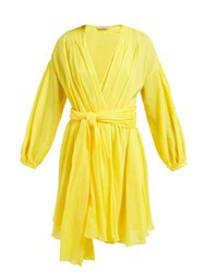 Three Graces London Carina Belted Cotton Voile Dress Yellow