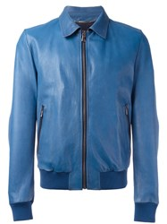 Dolce And Gabbana Leather Jacket Blue