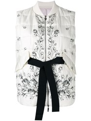 Moncler Gamme Rouge Floral Tie Gilet Women Silk Cotton Polyamide Goose Down 2 White