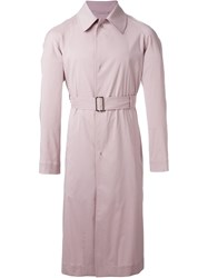 E. Tautz Belted Mid Length Trench Coat Pink And Purple