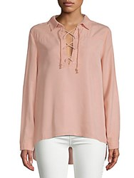 Saks Fifth Avenue Red Taylor Lace Up Blouse Pale Pink