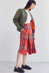 Bdg Pippa Plaid Kilt Midi Skirt Red Multi