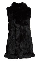 Love Token Genuine Rabbit Fur Vest With Genuine Fox Fur Trim Black