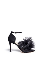 Isa Tapia 'Gigi' Layered Tulle Bow Satin Sandals Black