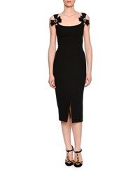 Dolce And Gabbana Bow Front Scoop Neck Cocktail Dress Black
