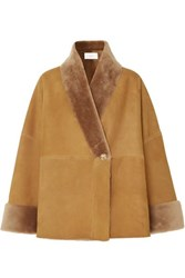 The Row Pernia Shearling Trimmed Suede Coat Brown