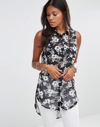 Glamorous Sleeveless Printed Vest Top Black Tropical