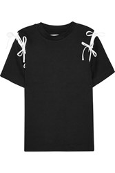 Facetasm Bow Embellished Cutout Cotton Jersey T Shirt Black