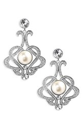 Nina Women's Crystal And Imitation Pearl Chandelier Earrings Ivory Pearl Silver