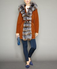 The Fur Vault Fox Trim Hooded Belted Wool Coat Caramel