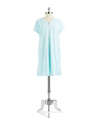 Miss Elaine Geo Print Fleece Night Gown Aqua Scroll