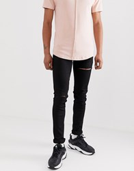 Soul Star Skinny Fit Deo Jeans In Black With Multi Rips