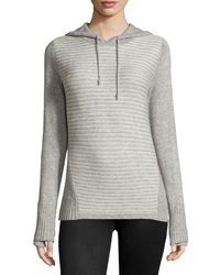 Neiman Marcus Striped Hooded Sweater Grey White