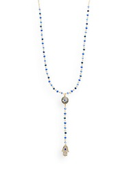 Cara Rosary Bead Hamsa Pendant Necklace Blue Gold