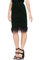 Vince Camuto Feathered Hem Pencil Skirt Rich Black