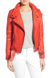 Women's Mackage 'Perfecto' Leather Moto Jacket Flame