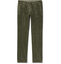 Massimo Alba Winch Slim Fit Cotton Velvet Trousers Green