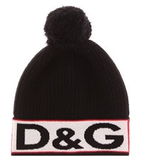 Dolce And Gabbana Knitted Wool Blend Hat Black
