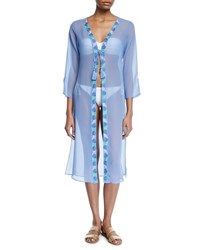 Letarte Long Sleeve Tie Front Georgette Coverup Blue