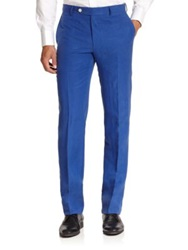 Saks Fifth Avenue Samuelsohn Linen And Silk Trousers Royal Blue